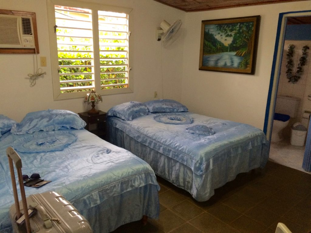 room in Vianles with two blue beds and pictures hanging on the wall