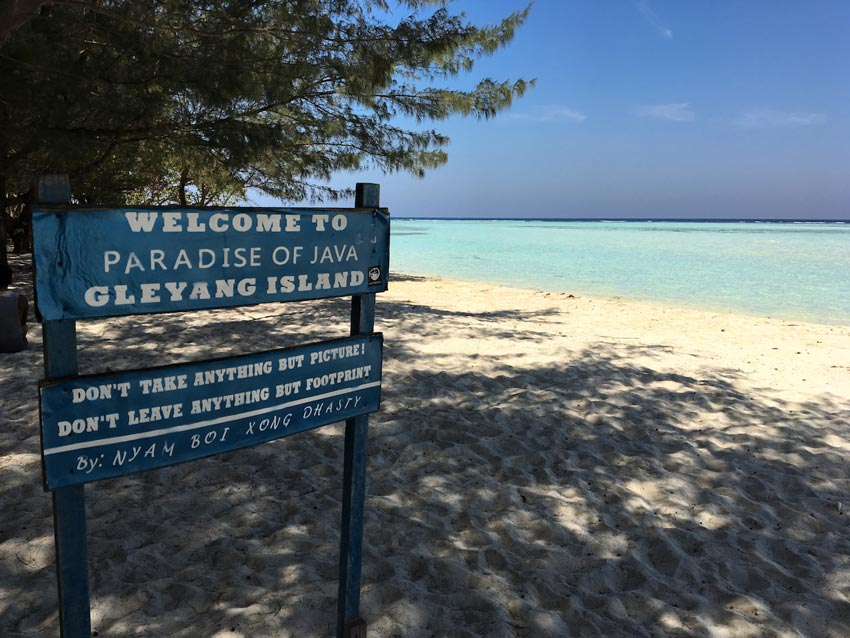 gleylang island sign on Karimunjawa islands