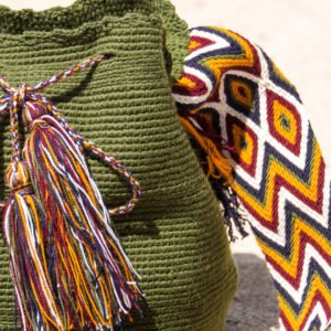 green Wayuu authentic bag made in Colombia