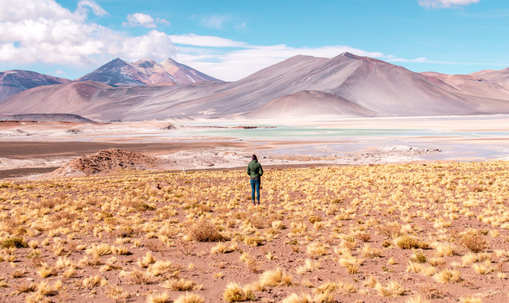 a woman in a green jacket standing in front of the purple mountains and blue lake in Atacama which is one of the most beautiful places in South America