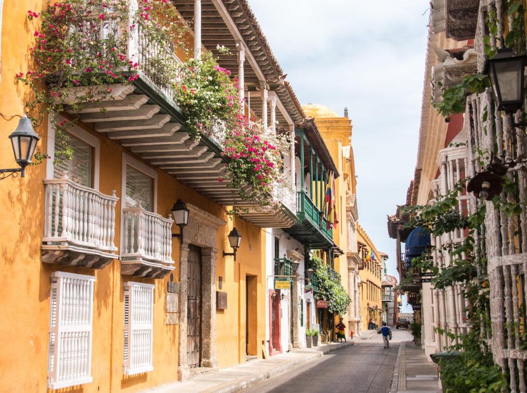 a colorful street in Cartagena, Colombia
