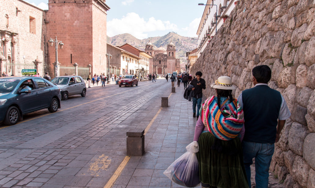 busy street in Cusco with people everywhere