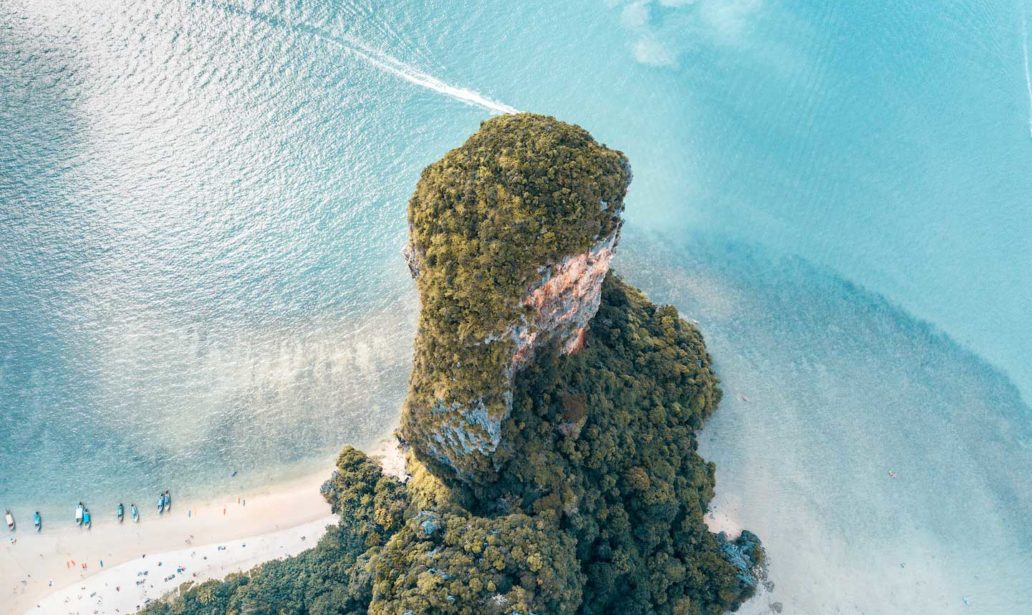 aerial view on blue water and ao phra nang beach