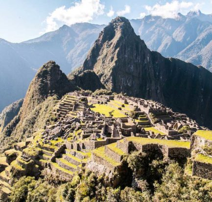 a view on the mountain and green trees in Machu Picchu