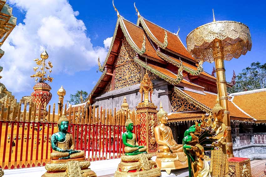 beautiful Thai temple with colorful statues nearby Chiang Mai