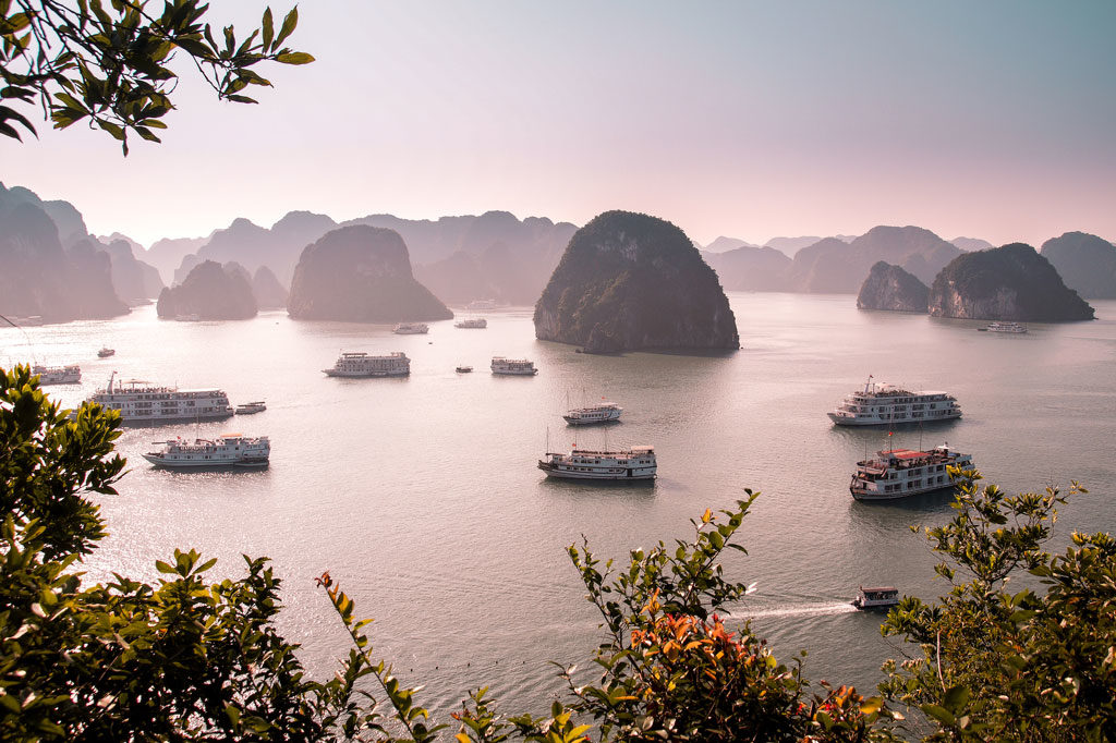 best beach destinations, halong bay