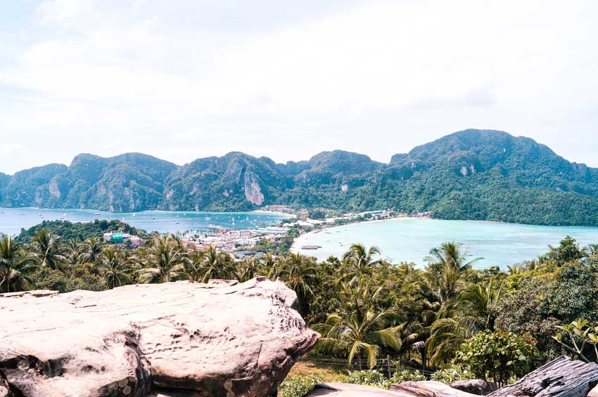 a view on Ko Phi Phi Don from a viewing point