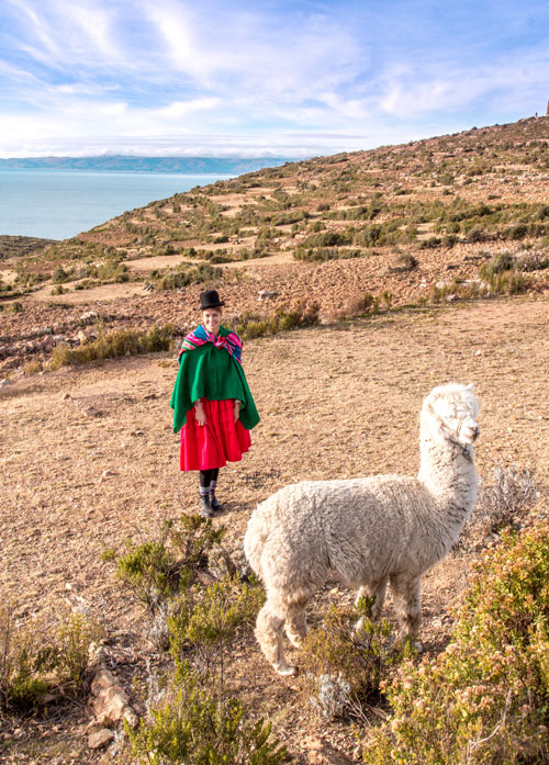 Cute lama and a girl wearing traditional bolivian clothes #Isladelsol#isladelsolbolivia#bolivia#boliviatravel#boliviaisladelsol#southamerica#southamericabackpacking#southamericabucketlist