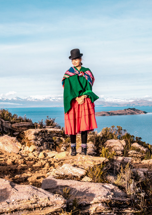 Woman in front of Lake Titicaca