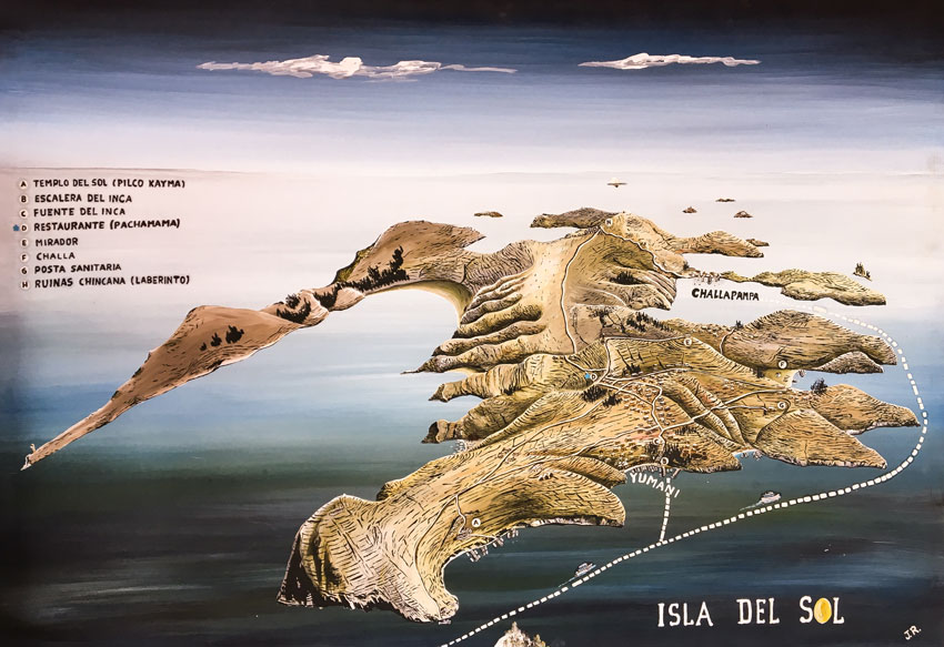 A painted map of Isla del Sol #Isladelsol#isladelsolbolivia#bolivia#boliviatravel#boliviaisladelsol#southamerica#southamericabackpacking#southamericabucketlist
