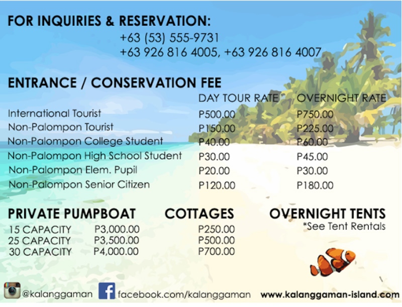 entrance fees how to get to Kalanggaman island