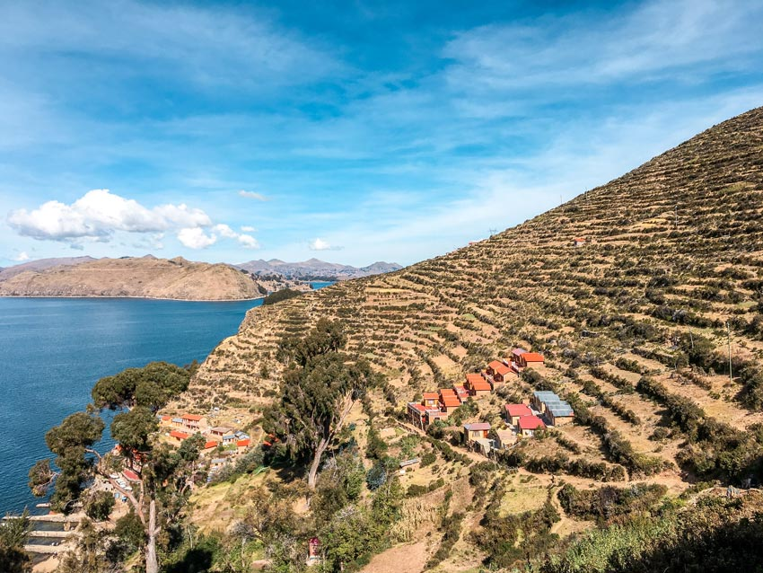View on Lake Titicaca and ancient Inca agricultural terraces #Isladelsol#isladelsolbolivia#bolivia#boliviatravel#boliviaisladelsol#southamerica#southamericabackpacking#southamericabucketlist