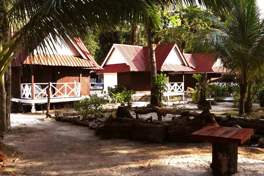 Cabins and plants. Perhentian islands accommodation