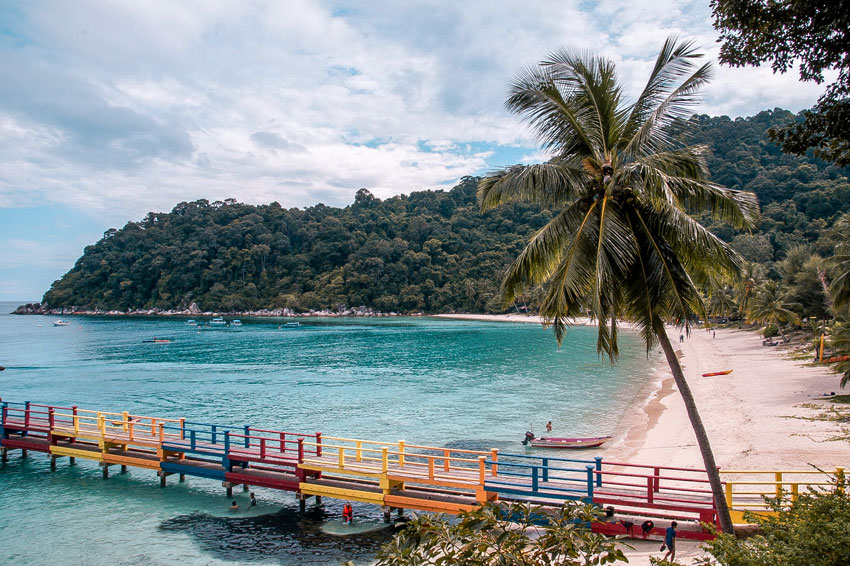 View on a beach, a pier and the ocean. how to get to perhentian islands,PIR BEACH