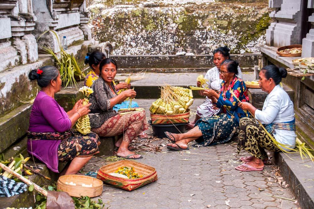 Ladies preparing decoration