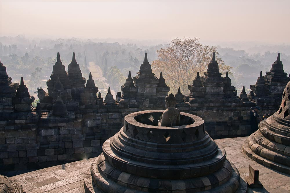 two weeks Indonesia itinerary Details of Borobudur temple.