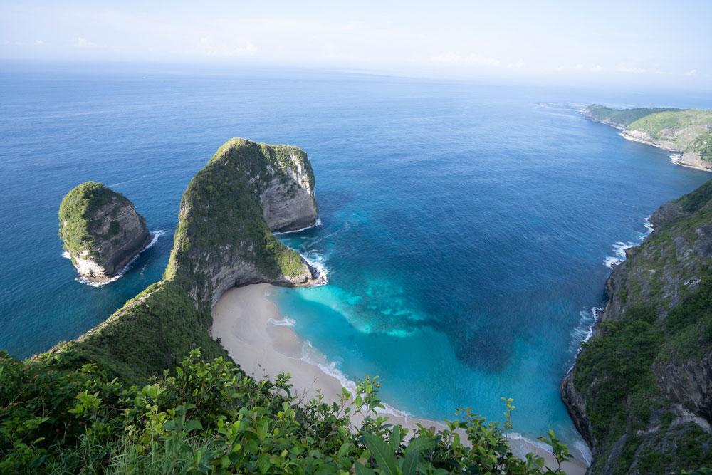 View on cliffs, beach and ocean.