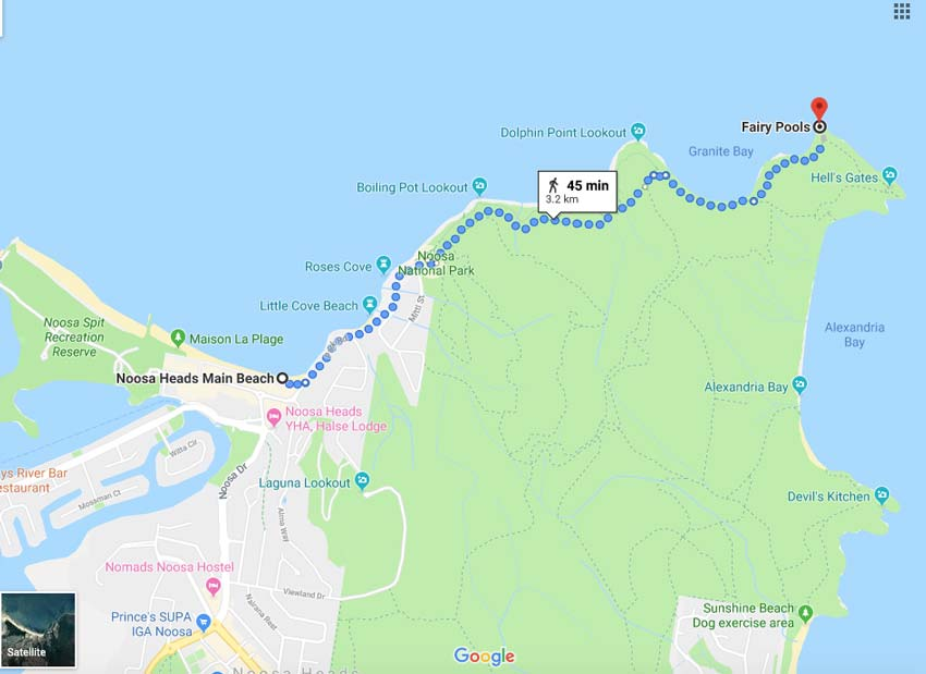a map describing how to get to Noosa's Fairy pools.