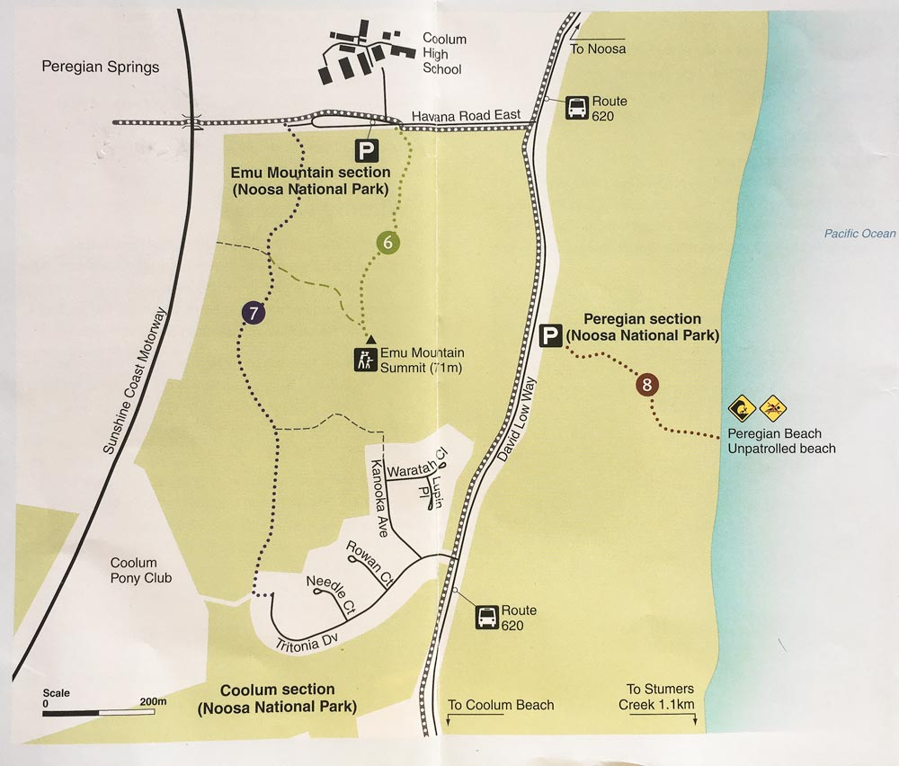 Noosa national parks- map