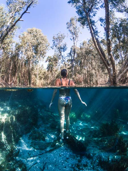 a girl standing in the water with eucalyptus trees in the background
