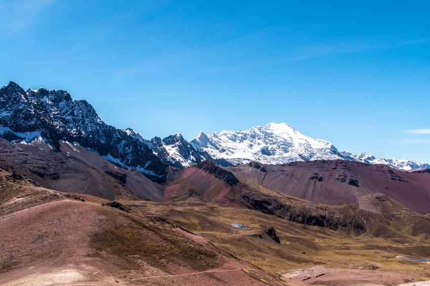 view on snowy peaks of the Andes in Peru