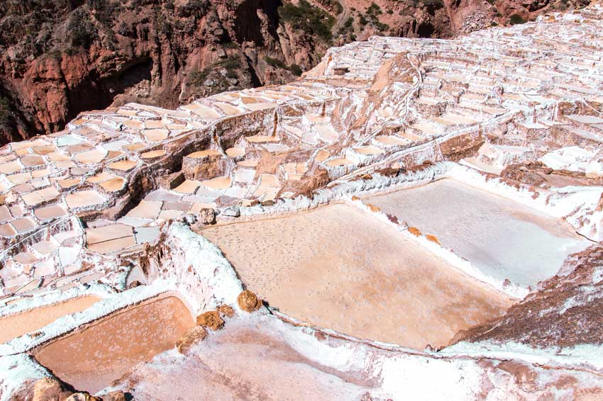 pink salt mines of Salinas de Maras in Peru