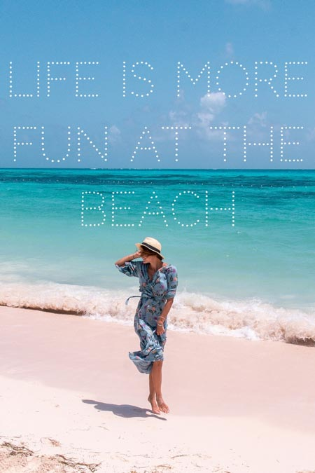 "a picture showing a girl in a blue dress on a colombian beach and the beach quote ""life is more fun at the beach"""