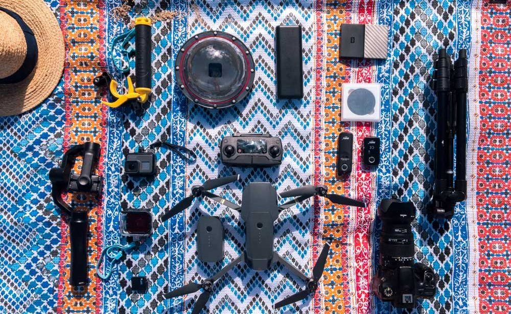 photography gear spread out on a blanket