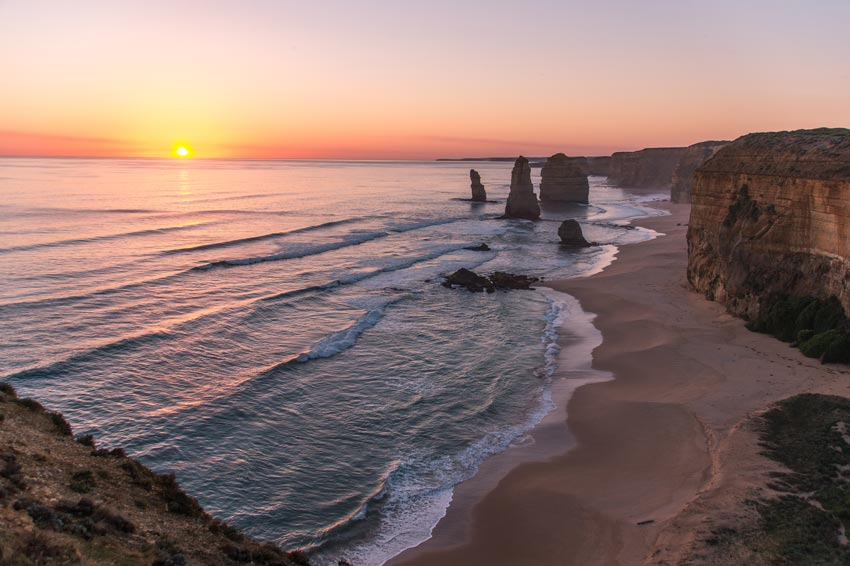 pink colours during Sunset and the view on cliffs and rocks on 12 Apostles