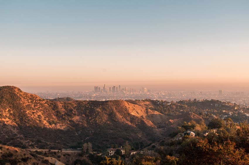 hills and the view on the buildings of Los Angeles during golden hour