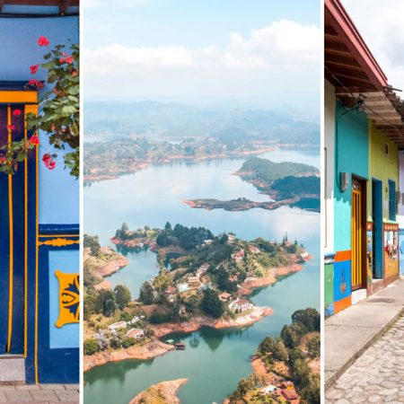 the best of Guatape, perfect trip from Medellin, colourful houses, view on a lake, and a blue door
