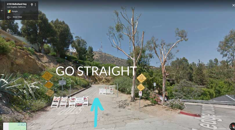 a screenshot of google maps showing a street that leads to the hollywood sign hike