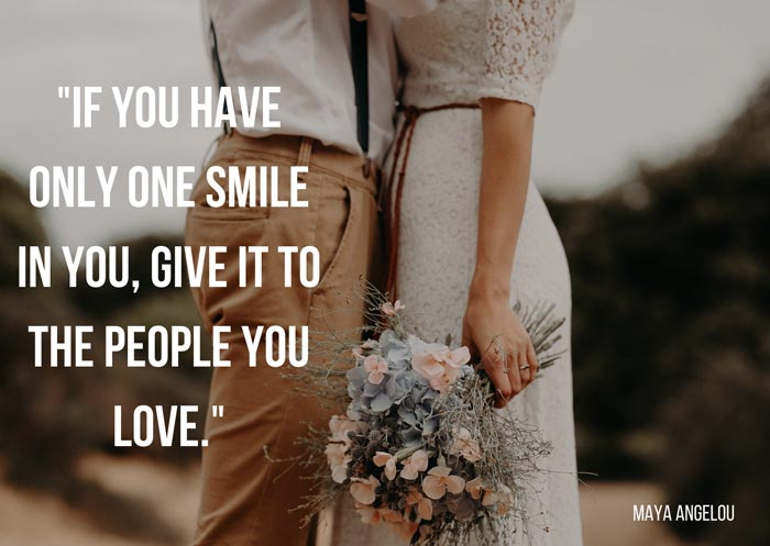 a picture showing quotes about smiling and couple standing close to each other