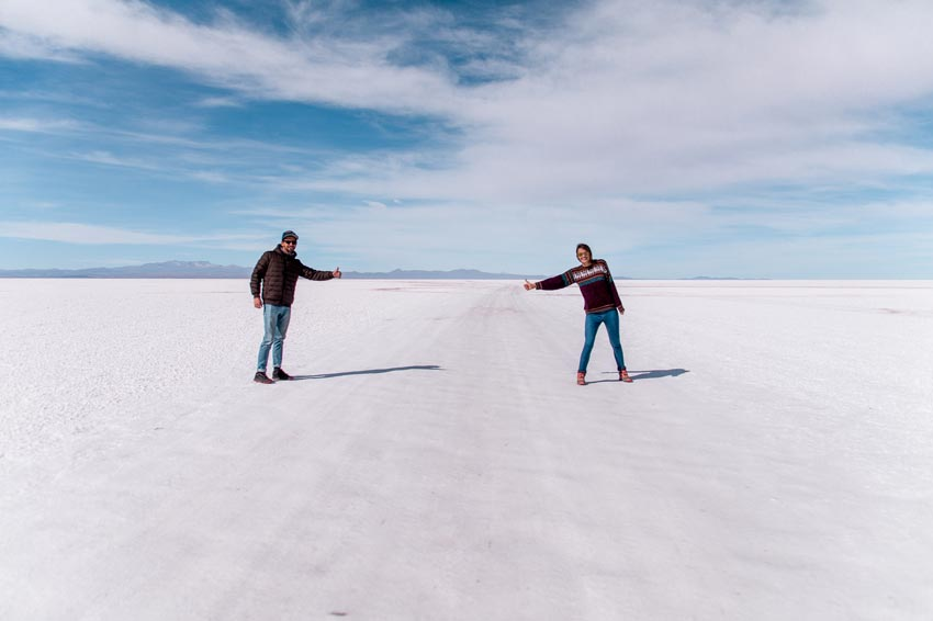 two people hitchhiking in Salar de Uyuni