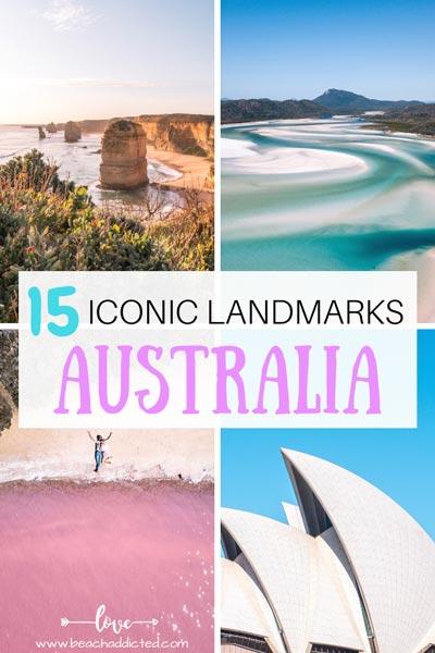 collage of photos from landmarks in Australia, pink lake, Sydney opera house, Whitsundays and 12 Apostles
