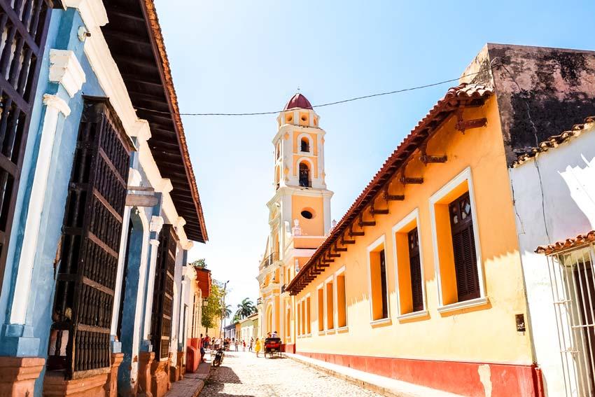 blue wall, orange church in Trinidad