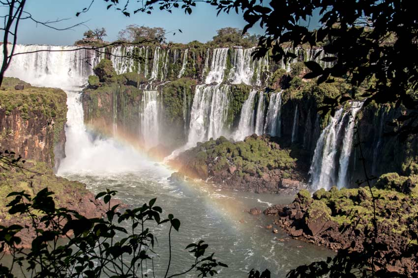 a view on the waterfalls, rainbow and the green jungle