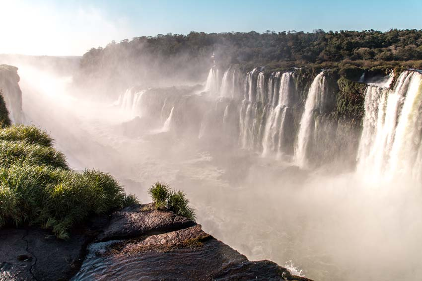 A view on cascading waterfall and green jungle in Iguazu falls in Argentina
