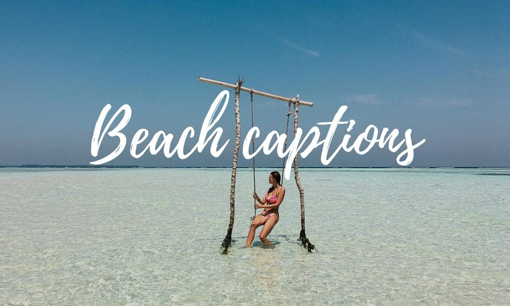 beach captions and the view on the sea with a girl sitting on the swing in Karimunjawa islands