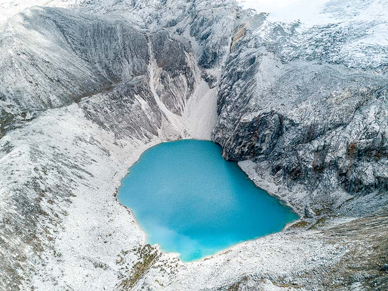 turquoise lake with white mountains in laguna 69 in Peru, close to Huaraz