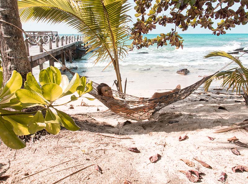 women lying in the hammock with palm trees around