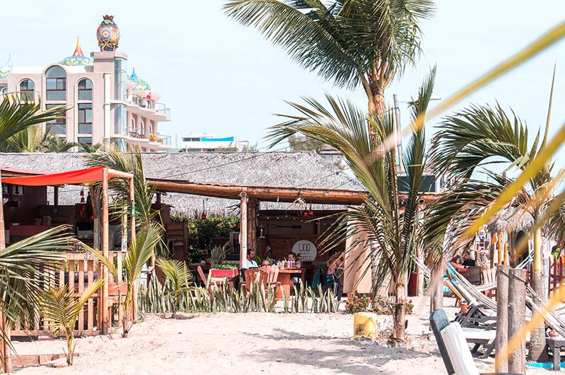 palm trees, sand and a restaurant