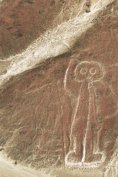 an astronaut drawing on a brown earth
