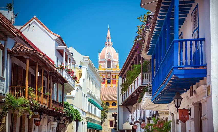 colourful houses and the view on St. Catherine of Alexandria Cathedral in Cartagena