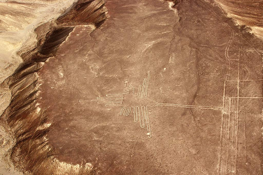 Nazca lines in Peru, brown earth and hummingbird