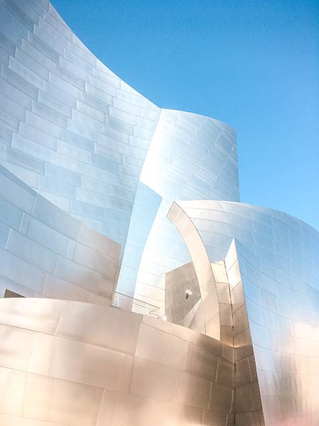 grey steel building called Walt Disney concert hall, one of the best things to do in downtown Los Angeles
