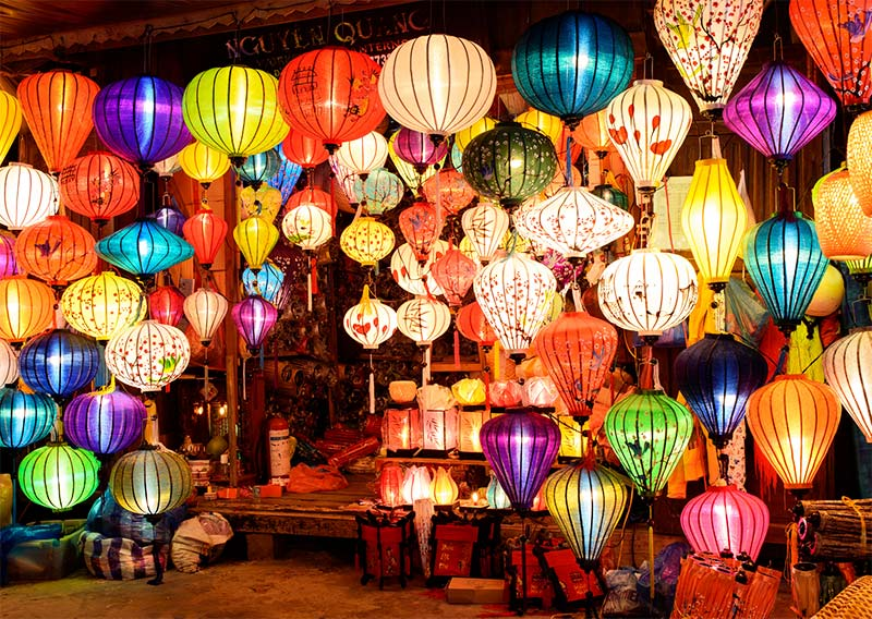colourful lanterns at night in Hoi An old town