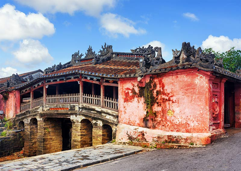 an old covered bridge in Hoi An Vietnam