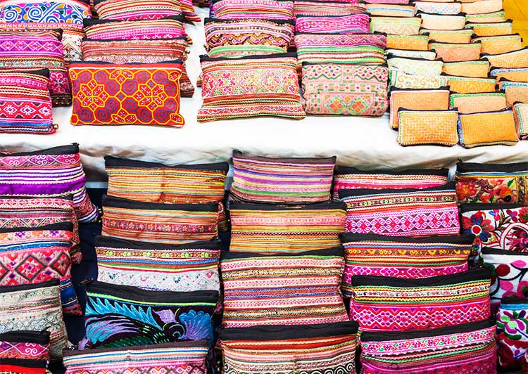 colourful Thai purses in Chiang Mai night market