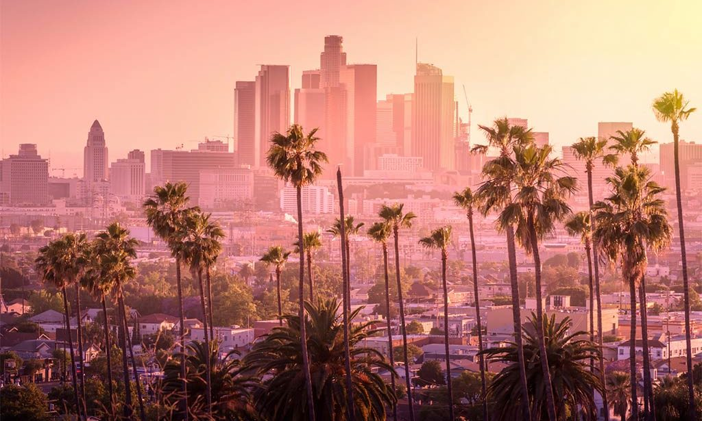 pinky sky above downtown Los Angeles with the best things to do